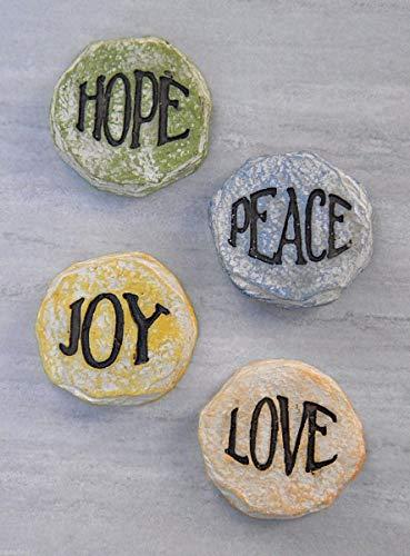 Miniature Fairy Garden Nativity Christmas 4 Stepping Stones Peace Hope Joy ()