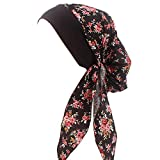 Vintage Women Elastic Wide Band Head Scarf Cotton Turbans Print Bonnet Multifunction Night Sleep Hat Chemo Hair Loss Wrap Cap (Black)