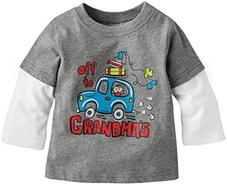 Baby Boys Kids Long Sleeve Cartoon Cotton T-Shirts Tops