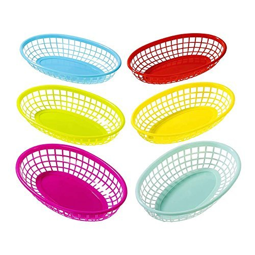 Talking Tables Cuban Fiesta Multicolor Plastic Food Baskets for a Picnic or Birthday, Multicolor (12 Pack)