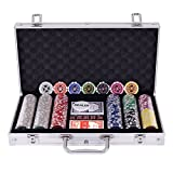 Edxtech Poker Chip Set 300 Dice Chips Texas Hold'em Cards With Silver Aluminum Case