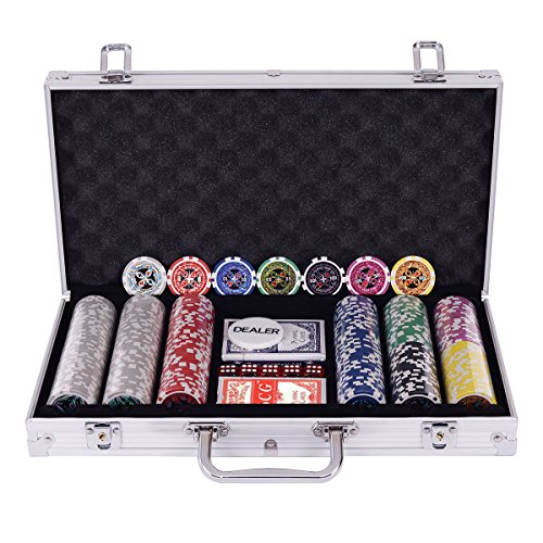 Edxtech Poker Chip Set 300 Dice Chips Texas Hold'em Cards With Silver Aluminum Case by Unknown