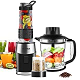 Smoothie Blender, Fochea 3 In 1 Food Processor Multi-Function Kitchen System, 700W High Speed Blender/Chopper/Grinder with 570ml BPA-Free bottle, Easy to Clean