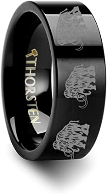 Thorsten Dinosaur Ring Woolly Mammoth Prehistoric Paleo Flat Black Tungsten Ring 6mm Wide Wedding Band from Roy Rose Jewelry