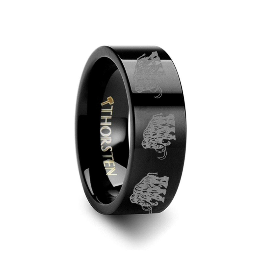 Thorsten Dinosaur Ring Woolly Mammoth Prehistoric Paleo Flat Black Tungsten Ring 12mm Wide Wedding Band from Roy Rose Jewelry
