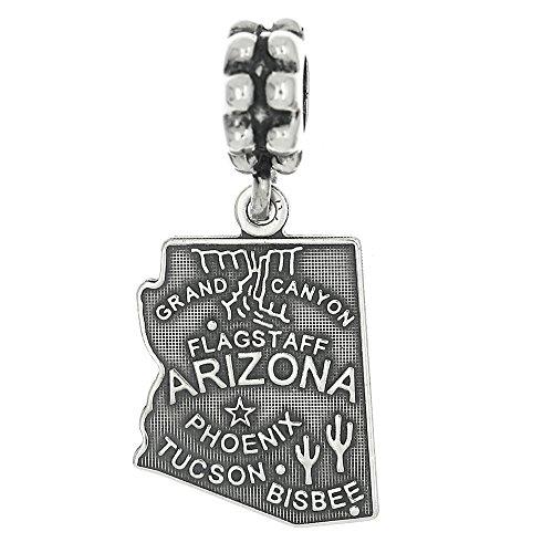 Sterling Silver Oxidized Arizona State Dangle Bead Charm Sterling Silver Arizona State Charm