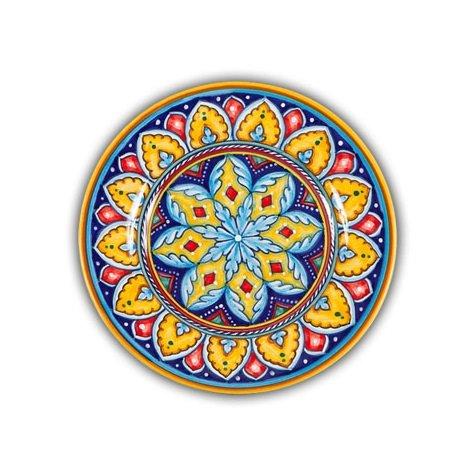 Hand Painted Italian Ceramic Geometric Salad Plate A - Handmade in Deruta