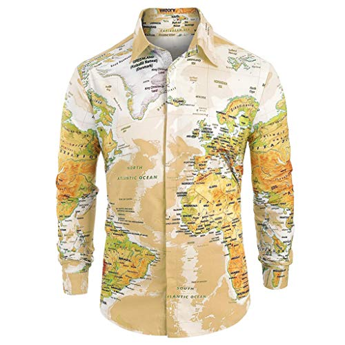 Letdown_Men tops Men Button Down Shirts Long Sleeve Graphic World Map Print Slim Fit Shirt Top Blouse Yellow