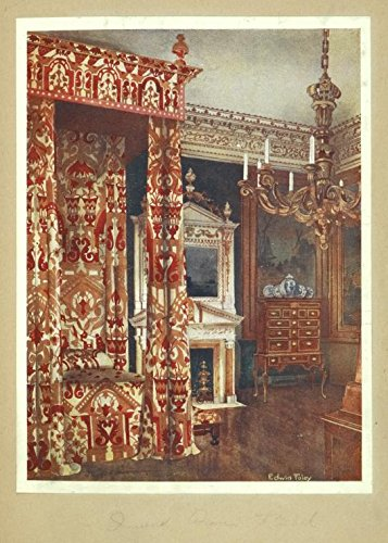 Hampton Poster Bed - Historic 1910 print   Queen Anne's bed. Hampton Court Palce. Chest of drawers upon stand   Antique Vintage Poster Print Reproduction