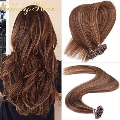 "Sunny Cold Fusion Hair Extensions Natural Keratin U tip Hair Extensions Highlight Balayage Remy Human Hair 14""-24"" 50gram"