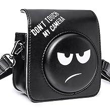 [Fujifilm Instax Mini 70 Case]—Woodmin Groovy PU Leather Fuji Instant Camera Case with Shoulder Strap (Black)