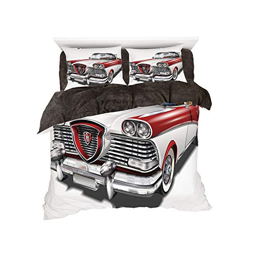 - Comfortable Bed Sheet Set with Bedding Pillow Case Cover for Bed Width 6ft Pattern by,Man Cave Decor,Retro Car in Red and White Exclusive Model Machine Drophead Coupe Decorative,Red White Silver