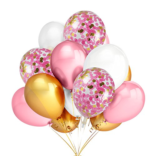 12Pcs 12 Inches Gold & Pink Confetti Balloons and 30Pcs Gold & Pink & White Color Latex Party Balloons,Baby Shower Graduation Celebration Party Decoration Supplies]()