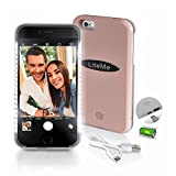 Lite-Me Selfie Lighted Smart Case, iPhone Protection with Built-in Power Bank & LED Lights - Perfect for Facetime & Selfies - Brightness Adjustable for iPhone 6 Plus / 6S Plus (Rose Gold)