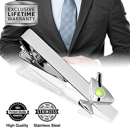 MGStyle Tie Clip, Mens Tie Bar, Men's Silver Tie Clips for Men, Martini Skinny Tie Bars for Ties Neckties, Cocktail Metal Tie Clip Tack Pin, Glass Tie Pinch Clasp, Regular ()