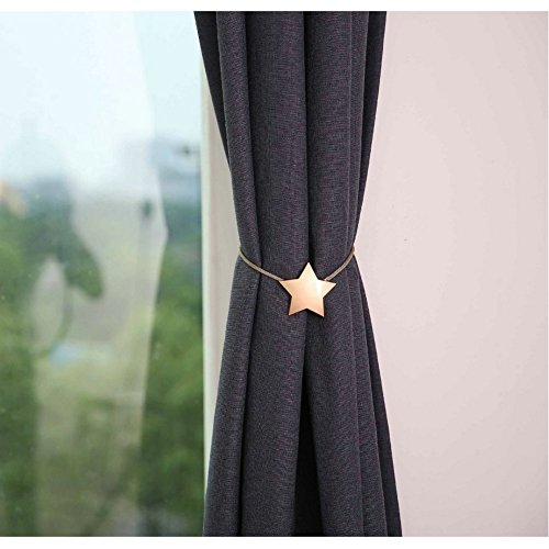 YING CHIC YYC 1Pair New Alloy Star Magnetic Curtain Tieback Decor Curtain Buckle Drapery Holder (Gold)