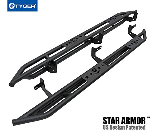 (Tyger Auto TG-AM2D20198 Star Armor Textured Black Running Boards Side Step Rails Nerf Bars Compatible with 2010-2019 Ram 2500/3500 Mega Cab)