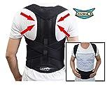 Posture Support - Black - Medical Grade Quality, breathable & adjustable brace HELPS rounded/slumped shoulders, correct postural alignment, improve posture (S: waist length fits 24.4-28.3'', Black)