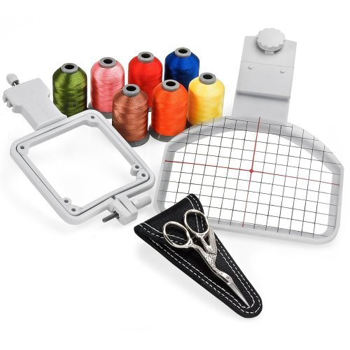 Cap Hat Embroidery Hoop Package - Includes Free Sock Hoop, 7 Spools of Embroidery Thread and Embroidery Scissors