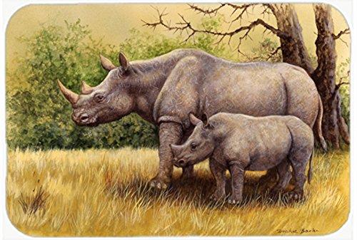 Multicolor 3.5 H x 3.5 W Set of 4 Carolines Treasures BB1006-BL-BN-FC Rhinoceros Burlap and Brown Foam Coasters