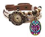 "Transgender White Boho Leather Charm Bracelet Watch 7"" to 8 1/4"""