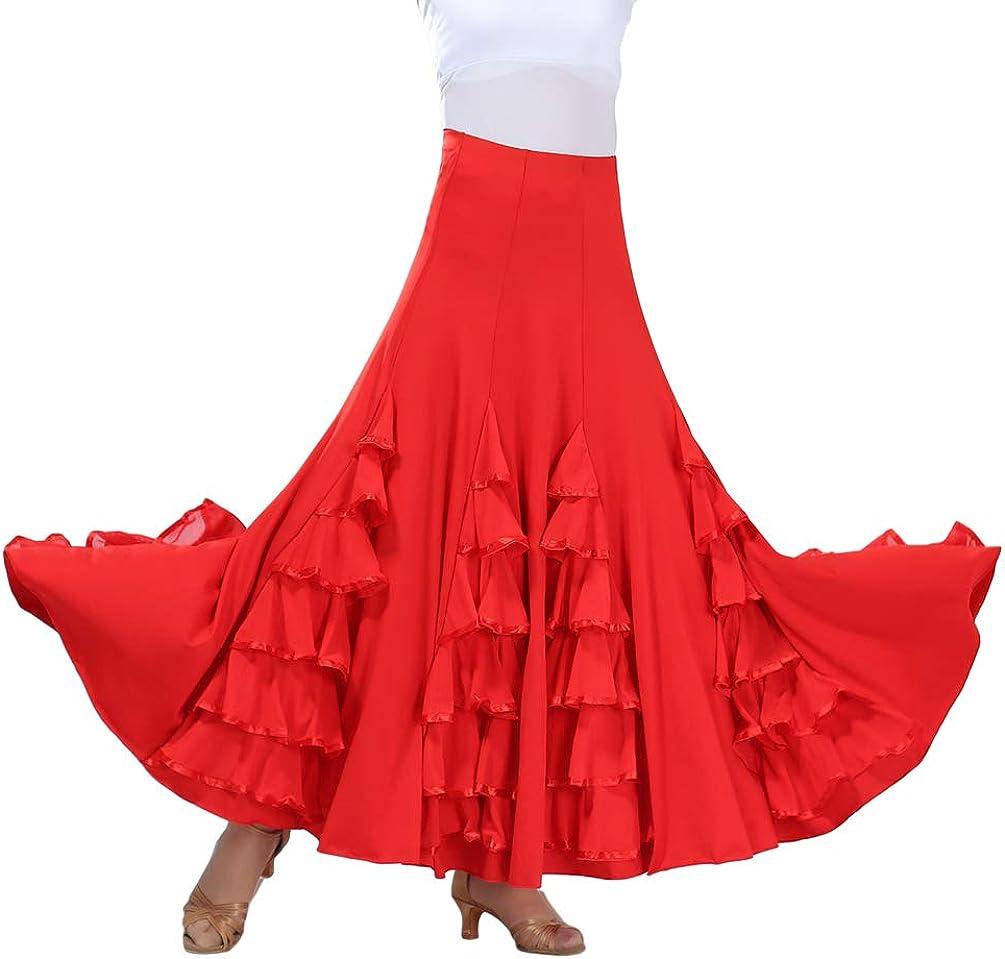 Tookang Flamenco Sevillanas Falda de Baile Moderno Vals Falda de Baile de Salón Practicar Falda Larga: Amazon.es: Ropa y accesorios