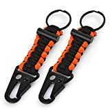 Multifunctional Paracord Keychain,Spider-BX(TM)Outdoor Gear Survival Kit With Fire Starter Perfect for Ultralight Backpacking & Adventure Camping, Hiking,Hunting,Travel,Black+Orange (2 Pack)