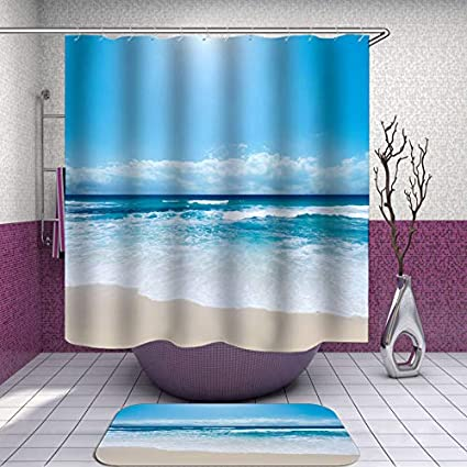 SARA NELL Hawaii Shower Curtain Hawaiian Beach Ocean Blue Sky Waterproof Polyester Fabric