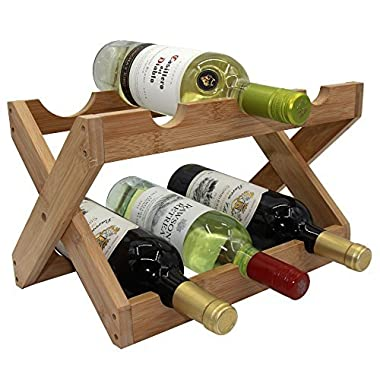 Autree Bamboo Countertop Wine Rack 6-bottles