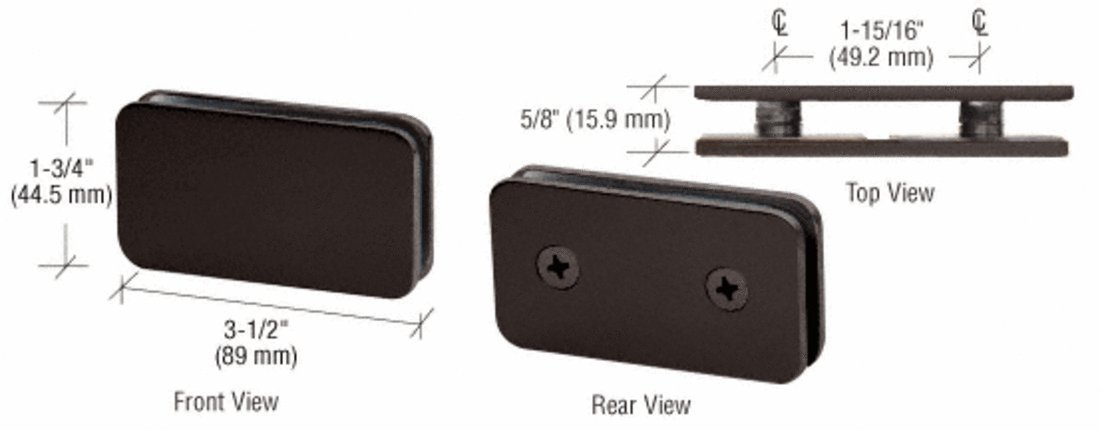 CRL Oil Rubbed Bronze Traditional 180 Degree Double Stud Glass Clamp