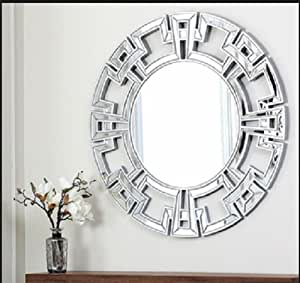 Abbyson living pierre silver round wall mirror for Large round decorative mirror