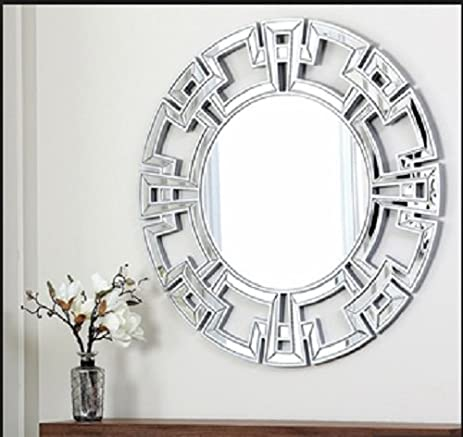 Amazon.com: Abbyson Living Pierre Silver Round Wall Mirror, Wall ...
