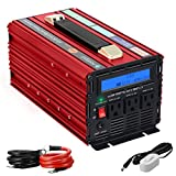 Novopal 2000W Power Inverter Modified Sine Wave 3 AC Outlets DC 12v to AC 120v with Remote Control, Big LCD Display -Red