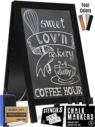Handcrafted A Frame Chalkboard Sign - Sandwich Board Sidewalk Signs for Businesses - Midnight Black Pine Wood Outdoor Standing Chalk Boards for Sidewalks - Large 40 x 22 Double Sided Advertising Easel