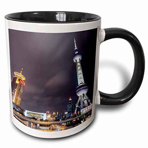 (3dRose Danita Delimont - Skyscrapers - China, Shanghai, Skyscrapers in Pudong district at night. - 15oz Two-Tone Black Mug (mug_225575_9))