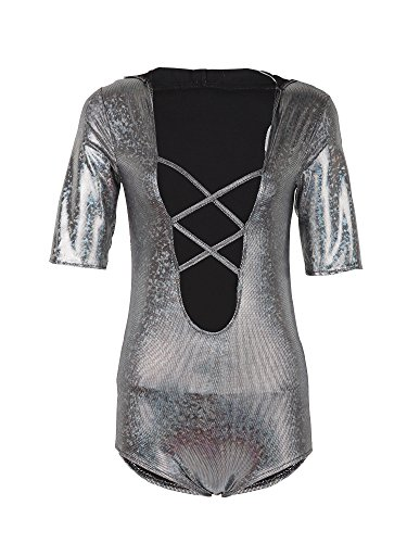 [Holly Gibbons Women's V Neck Half Sleeve Leotard Jumpsuit Hooded Bodysuit] (Easy Halloween Costume To Wear To Work)