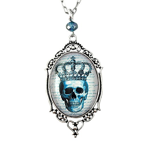 Pirate Skull Cameo Necklace (Royal Skull - Filigree Cameo Necklace - Silver and Teal - Glass Tile)