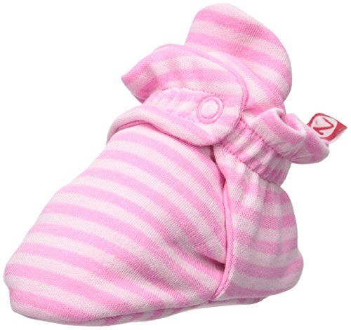 Zutano Baby Girls' Cotton Bootie, Pink Stripe, 18M (12-18 Months) (Socks Zutano Girls)