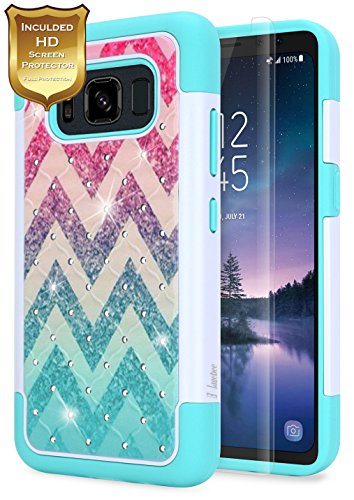 S8 Active Case with [HD Screen Protector], Galaxy S8 Active Case, NageBee [Hybrid Protective] Armor Soft Silicone Cover [Studded Rhinestone Bling] Design Hard Case for Samsung Galaxy S8 Active(Wave)