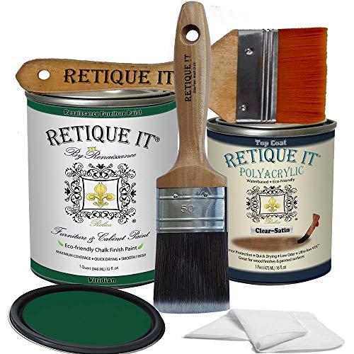 Retique It Chalk Furniture Paint by Renaissance DIY, Poly Kit, 49 Viridian, 32 Ounces