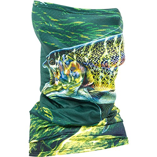 Fishmasks Single Layer Neck Gaiter - Protection From Sun, Surf, Wind - Men And Women - Fishing Gaiter Made In USA - UPF 50+ - Moisture-Wicking Performance Fabric {Al Agnew Artist Series - Fish}