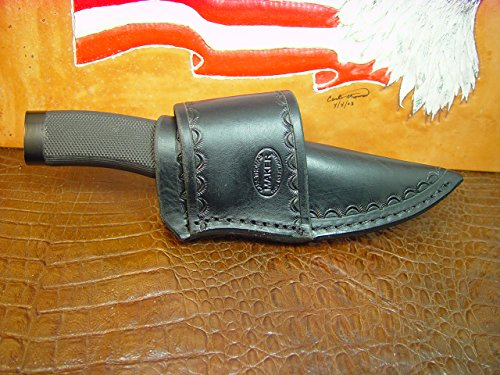 Custom Made Cross Draw Knife Sheath for the Buck Vanguard Are Zipper Knife the Sheath Is Made Out of Water Buffalo Hide Leather with Border Tooling and Died Black.
