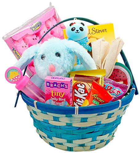 Blue Easter Basket for Boys and Girls - BONUS Easter Slime! - Pre-Filled Easter Basket Gift with Premium Solid Milk Chocolate Easter Bunny - Lots of Easter Basket Candy - Easter Gift for Kids ()