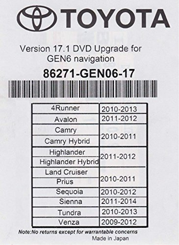 2018 Toyota Navigation DVD Gen 6 U99 17.1 Map GPS (Non Navigation)