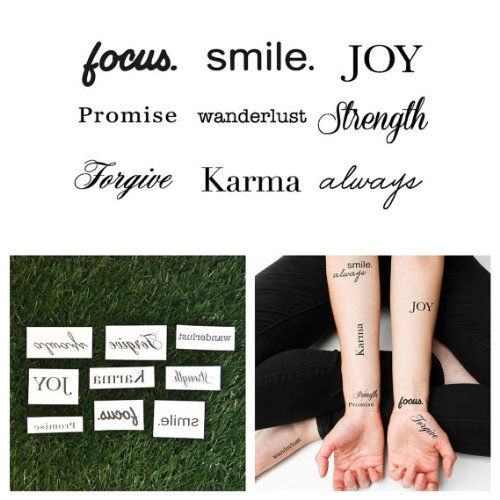 Tattify Assorted Word Temporary Tattoos - Lifes Diamonds (Set of 18)