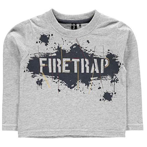 Firetrap Boys Printed Long Sleeve Crew Neck T Shirt Tee Top Graffiti Logo 6/12 -