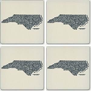 "CoasterStone Absorbent Coasters, Relevant Words North Carolina (Set of 4), 4-1/4"", Multicolor"