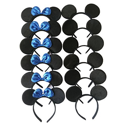 [CHuangQi Hair Accessories Mickey Mouse Ears Solid Black and Blue Sequins Bow Minnie Headbands,Boys & Girls Headwear for Birthday Party or Celebrations (Set of] (Donald Duck Costumes For Adults)