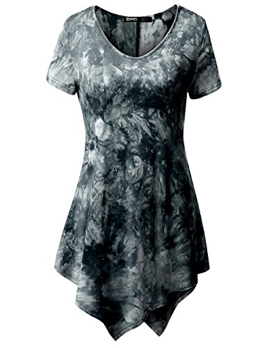 (TWINTH Printed Tunic Plus Size Tie Dye Short Sleeve Handkerchief Hem Loose Fit Top Charcoal L)