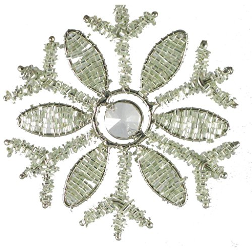 Golden Hill Studio Beaded Snowflake with Crystal Center (Set of -